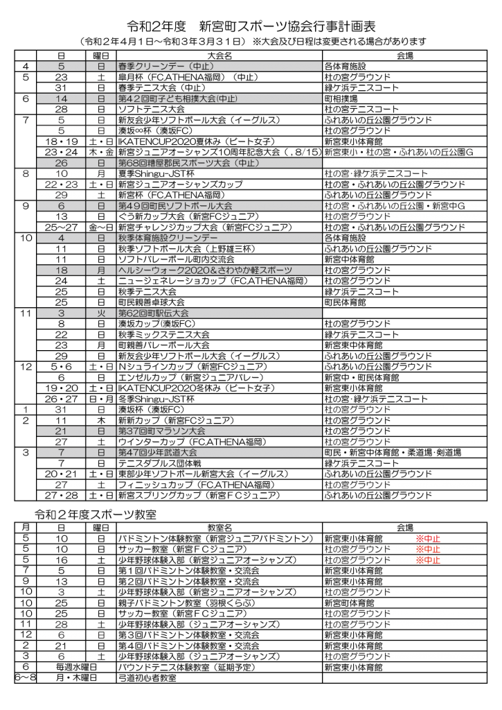 令和2年度新宮町スポーツ協会行事計画表